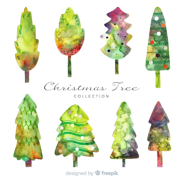 Watercolor christmas tree collection Free Vector