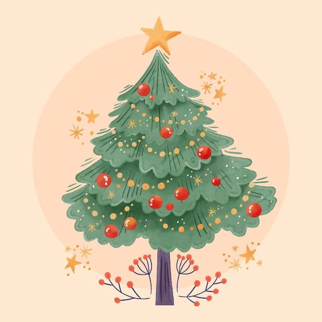 Concetto dell'albero di natale dell'acquerello Vettore gratuito