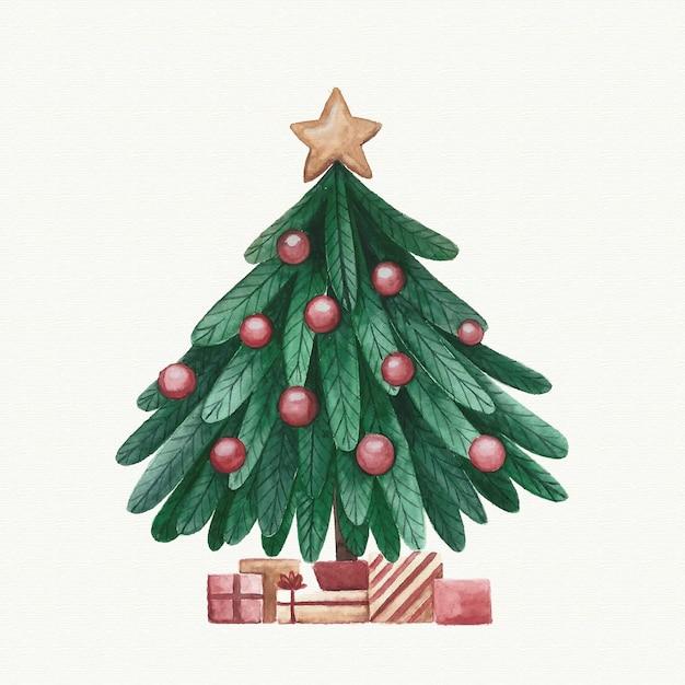 Watercolor christmas tree decoration Free Vector