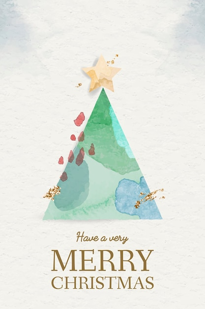 Watercolor christmas tree element Free Vector