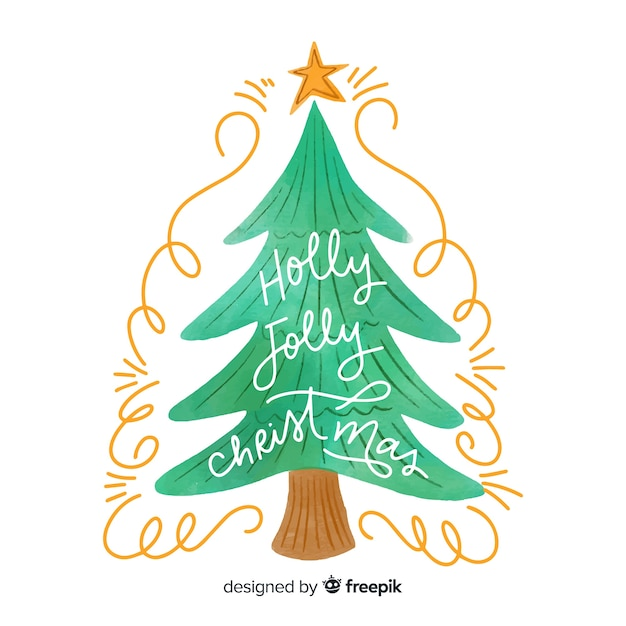 Watercolor christmas tree in flat design Free Vector