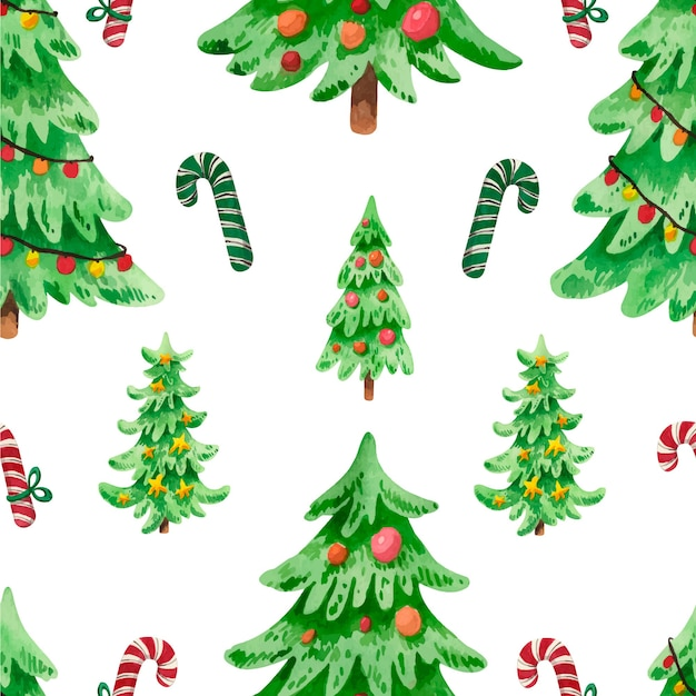 Watercolor christmas tree pattern with candies Premium Vector