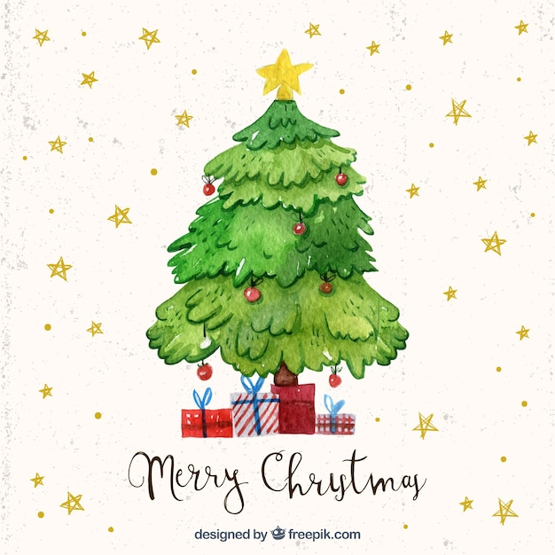 Watercolour Christmas Tree: Watercolor Christmas Tree Stars Background Vector