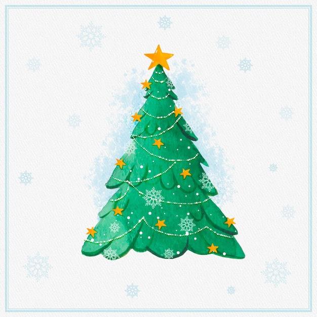 Акварельная новогодняя елка со снежинками Бесплатные векторы