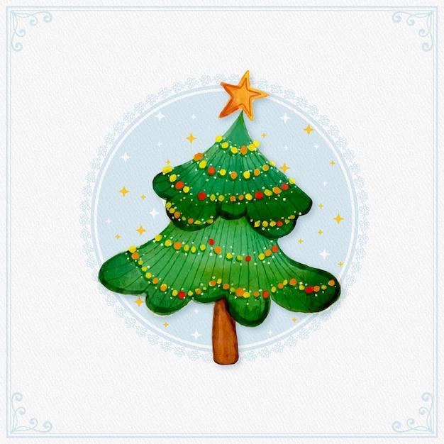 Акварельная новогодняя елка со звездой Premium векторы