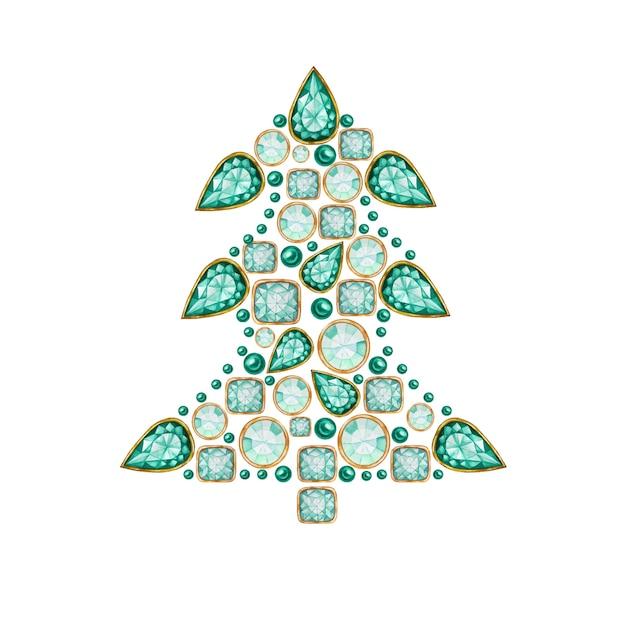 水彩のクリスマスツリー Premiumベクター