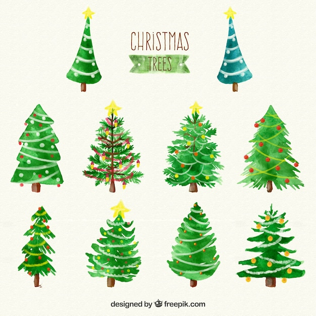 Watercolour Christmas Tree: Watercolor Christmas Trees Collection Vector
