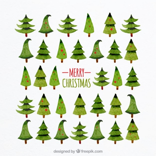 Watercolour Christmas Tree: Watercolor Christmas Trees Vector