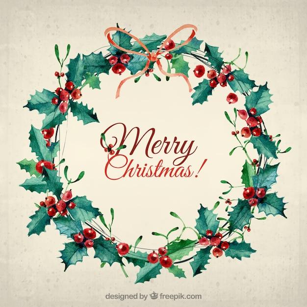 Watercolor Christmas Wreath Card Vector Free Download
