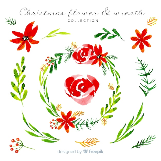 Watercolor christmas wreath collection Free Vector