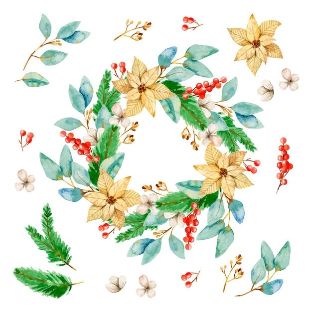 Watercolor christmas wreath collection Free Vector