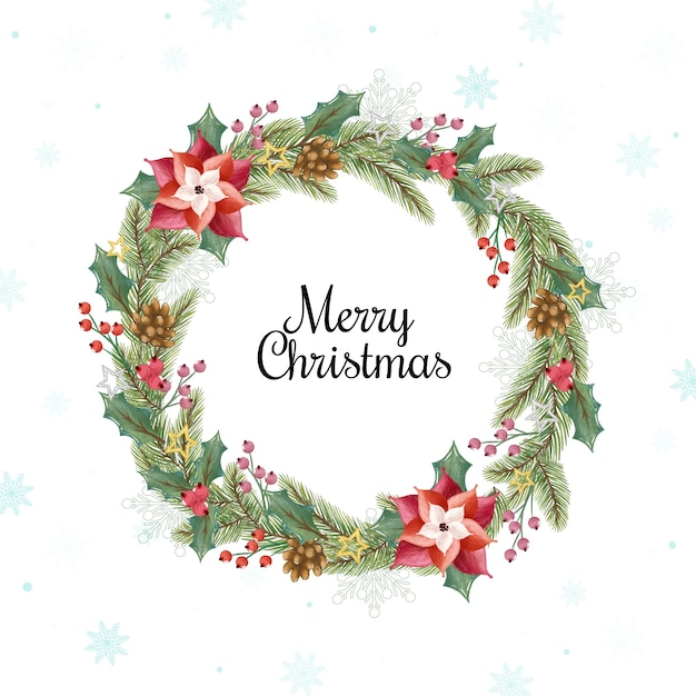 Watercolor christmas wreath concept Free Vector