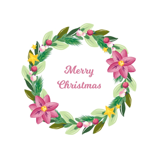 Watercolor christmas wreath with decoration Free Vector