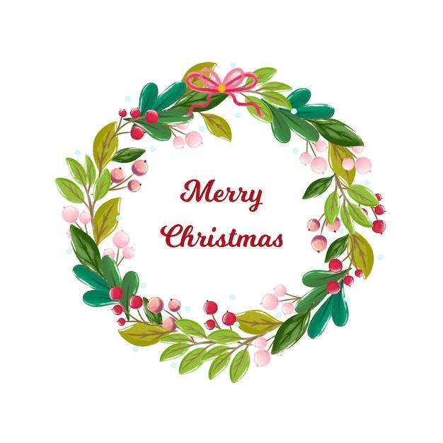 Акварель рождественский венок с приветствием Бесплатные векторы