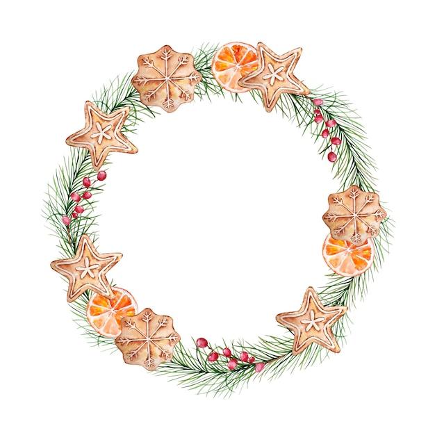 松の枝とベリー、ジンジャーブレッドクッキーとオレンジスライスの水彩画のクリスマスリース。 Premiumベクター