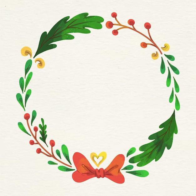 Акварель рождественский венок Бесплатные векторы