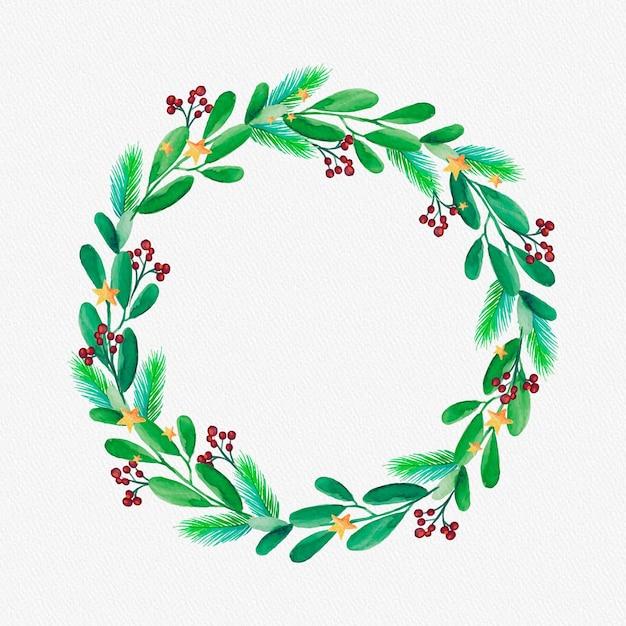 Акварельный рождественский венок Бесплатные векторы