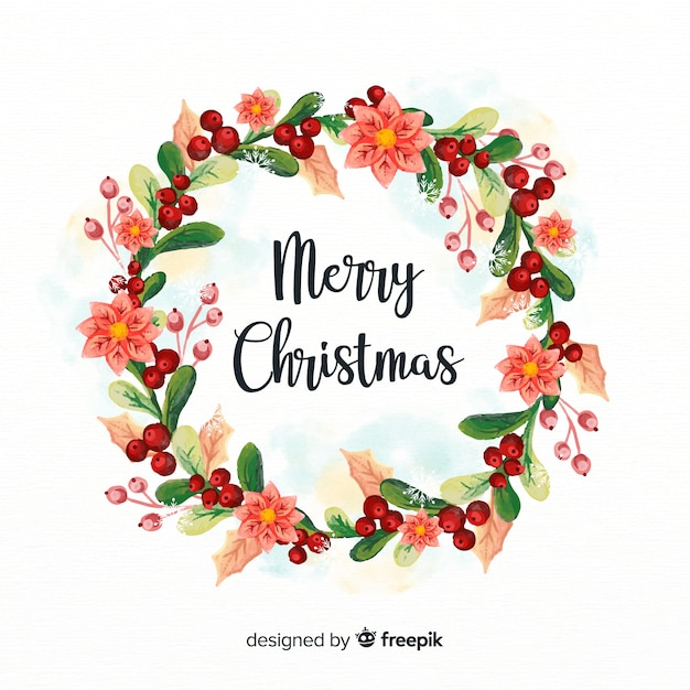 Watercolor Christmas Wreath Vector Free Download
