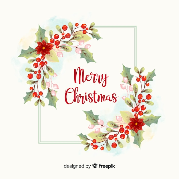 Watercolor christmas wreath Free Vector