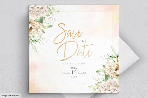 水彩菊の結婚式の招待カード 無料ベクター
