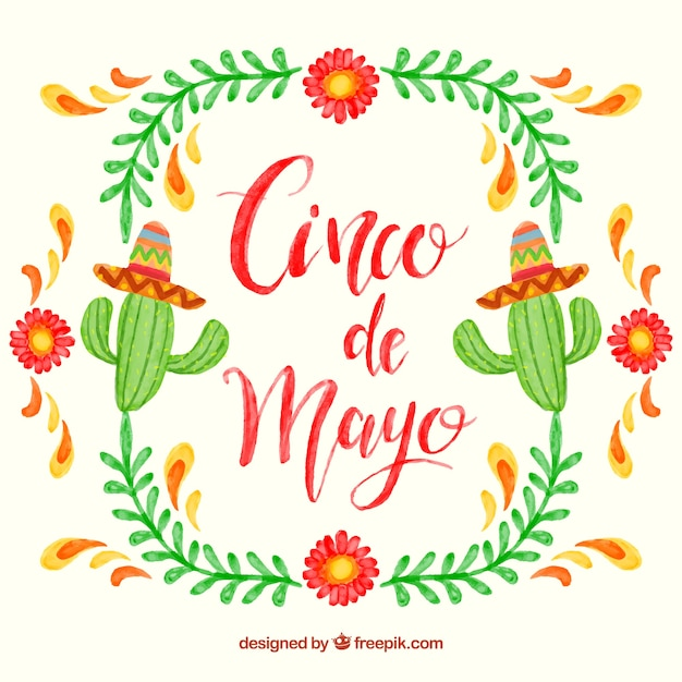 Watercolor Cinco De Mayo Background With Cactus And ...