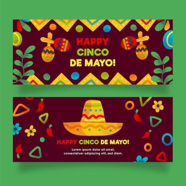 Акварельные баннеры синко де майо Бесплатные векторы