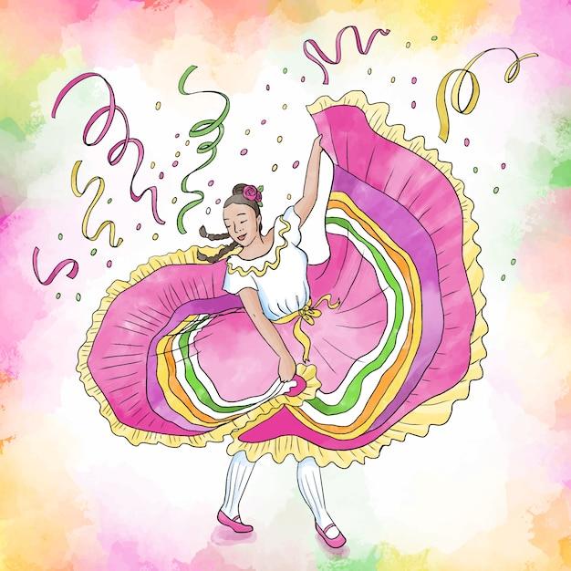 Donna danzante dell'acquerello cinco de mayo Vettore gratuito