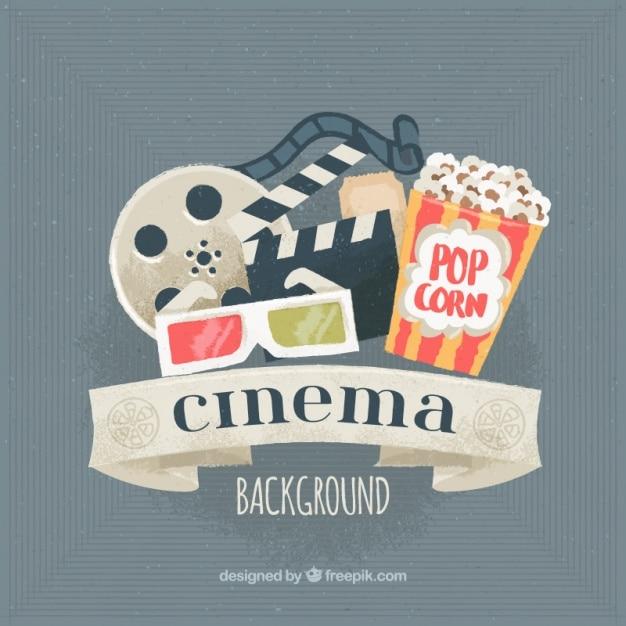 Watercolor cinema background Premium Vector