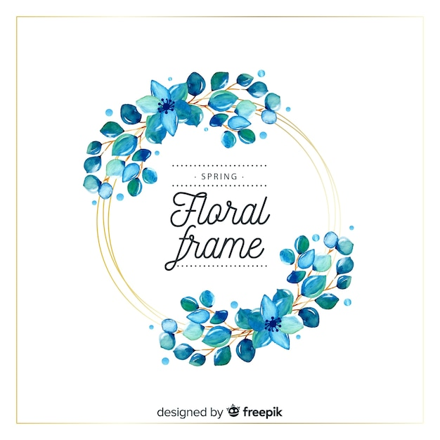 Watercolor circle spring floral frame Free Vector