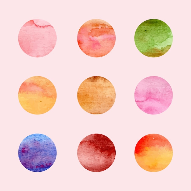 Watercolor circles collection Premium Vector