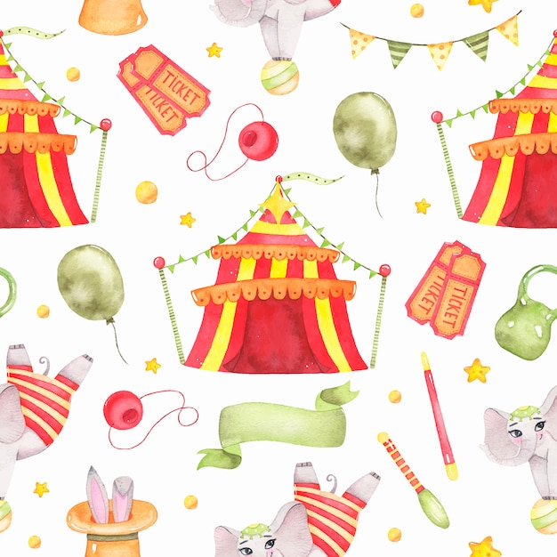 Watercolor circus animal seamless pattern with circus tent, elephant on ball isolated Free Vector