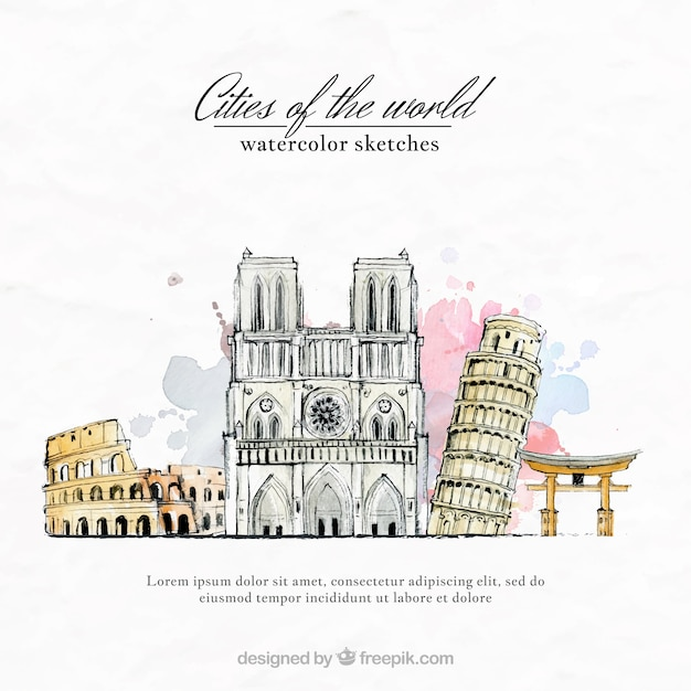 Watercolor cities of the world Free Vector