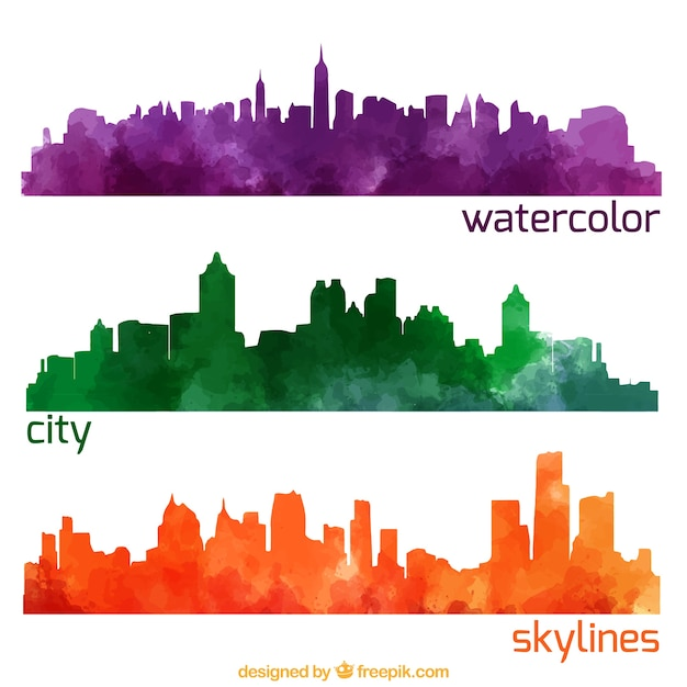 watercolor city skylines pack vector free download