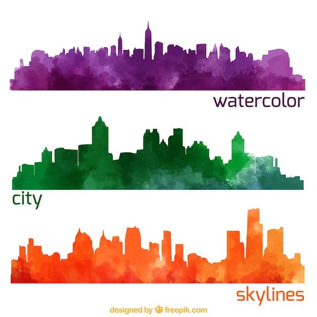 水彩都市スカイラインパック 無料ベクター