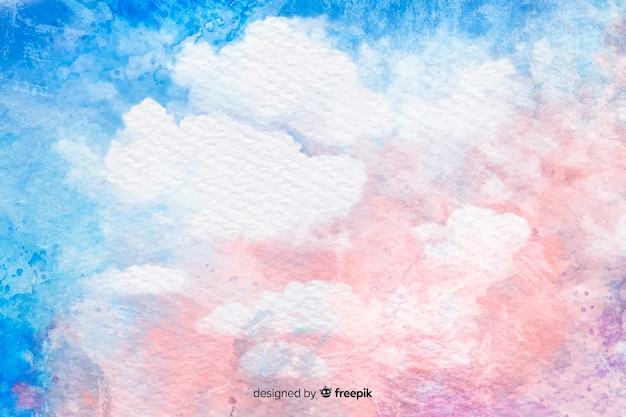 Watercolor clouds on blue sky background Free Vector