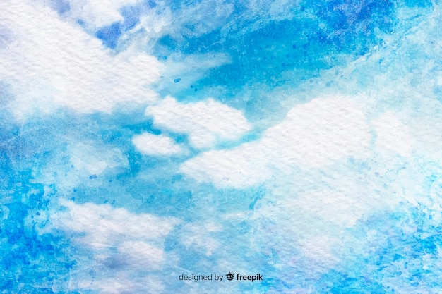 Watercolor clouds on blue sky Free Vector