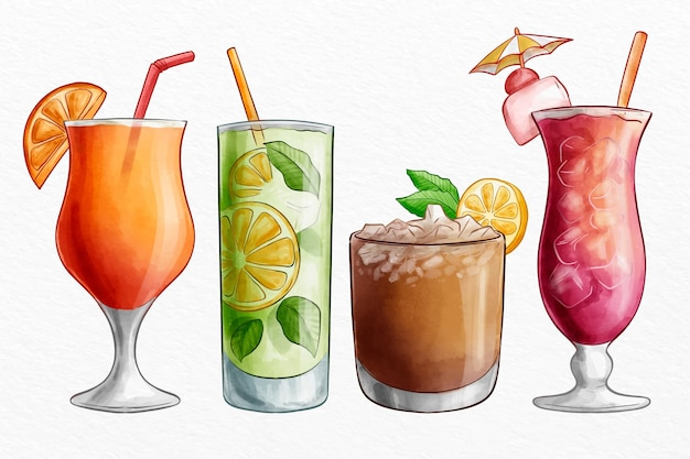 Watercolor cocktail collection Free Vector