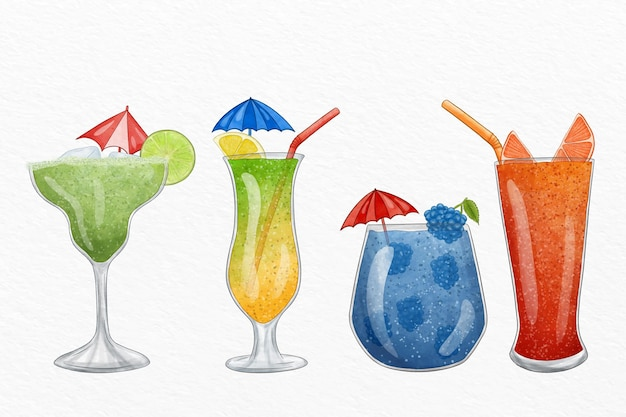 Watercolor cocktail illustration set Free Vector