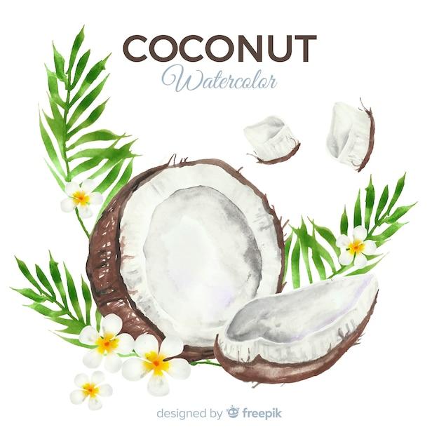 Акварельный кокосовый фон Бесплатные векторы