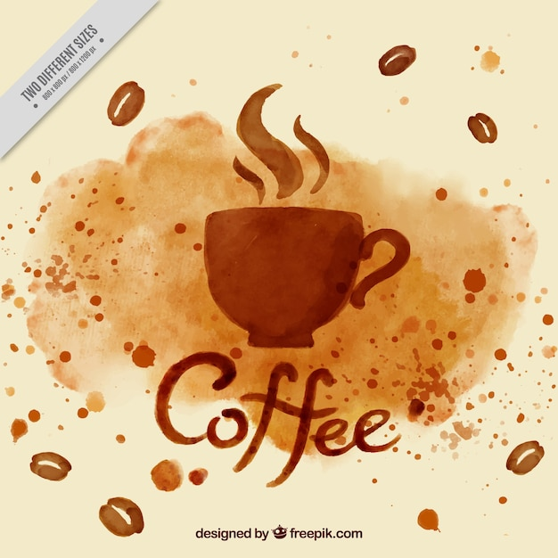 Watercolor coffee cup background vector free download for Coffee watercolor