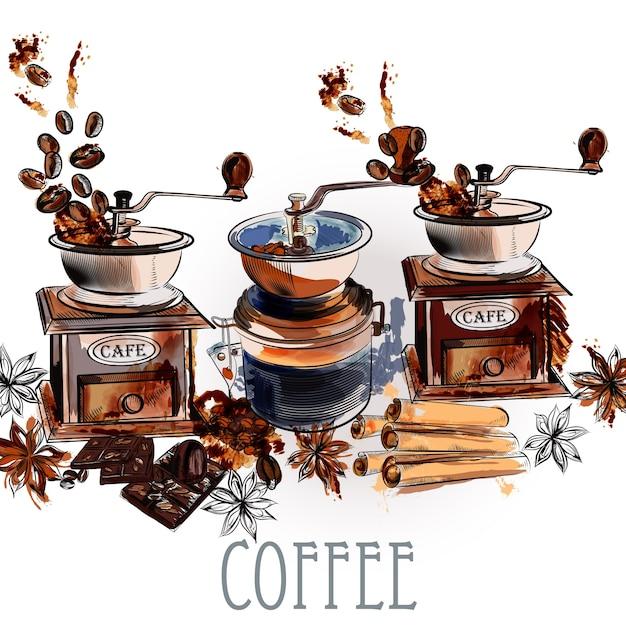 Watercolor coffee mills background | Premium Vector