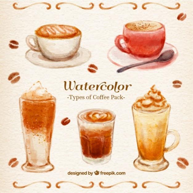 Watercolor coffee pack vector premium download for Coffee watercolor