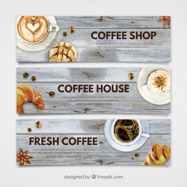 Watercolor coffee shop banners Free Vector