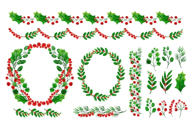 Watercolor collection of christmas decorations Free Vector