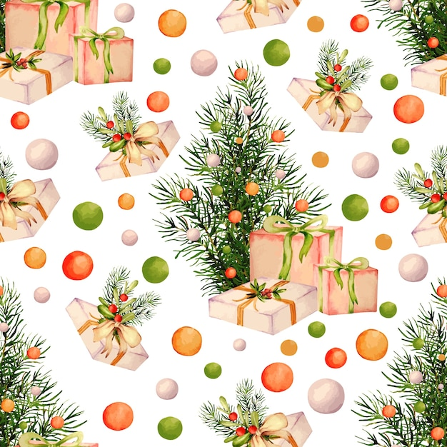 Watercolor collection of christmas pattern Premium Vector