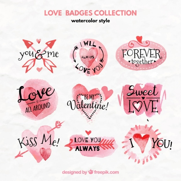 Watercolor collection of love badges Free Vector