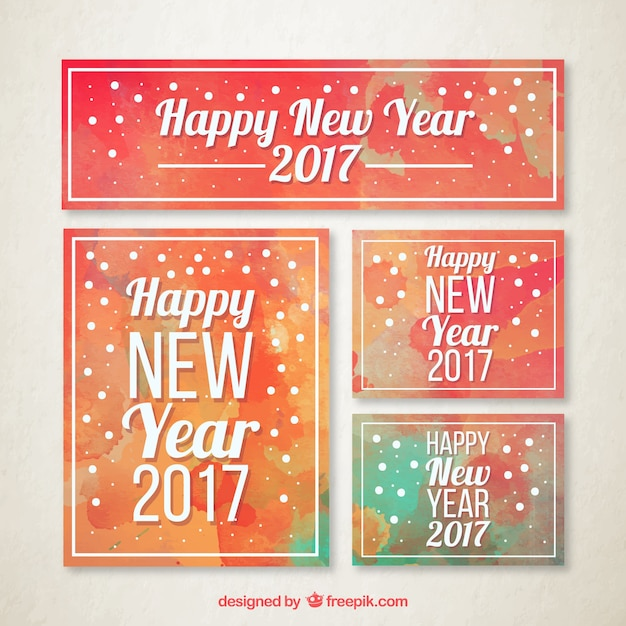Watercolor collection of new year stationery Vector | Free Download
