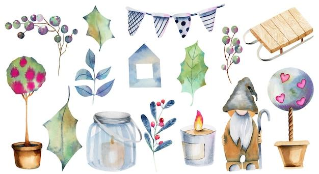 Акварельная коллекция рождественских элементов, рисованной, изолированные на белом фоне Premium векторы