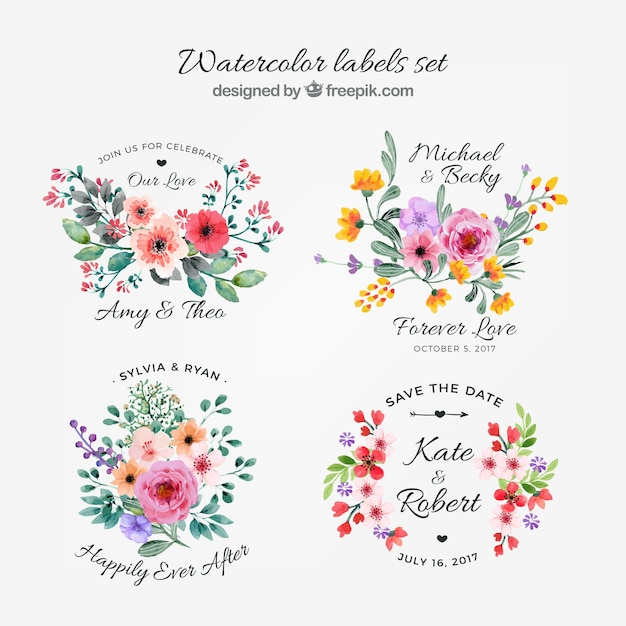 Watercolor collection of floral labels Free Vector