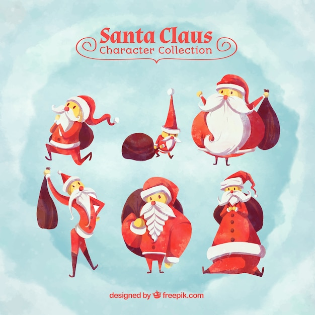 Watercolor collection of santa claus character Free Vector